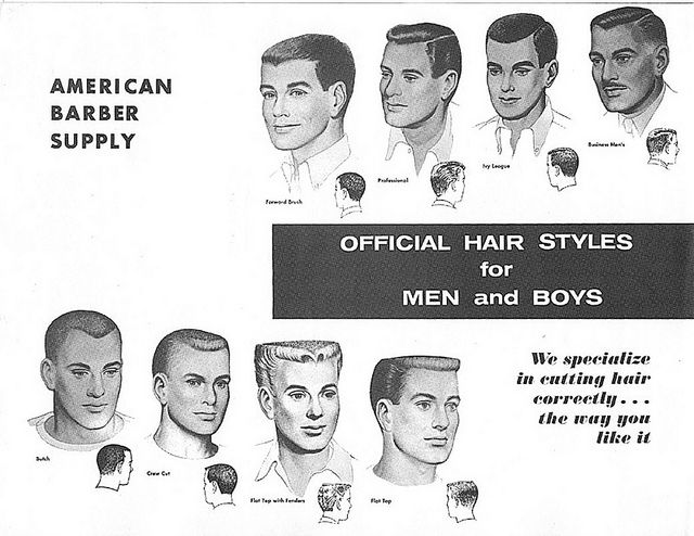 """1950s Mens Hair Styles. """"In the mid-1950's, the flattop was the most popular men's hairstyle in the United States. Some of the most popular mens hair products were Vitalis, Brylcreem, Butch Wax, and Pomade."""""""