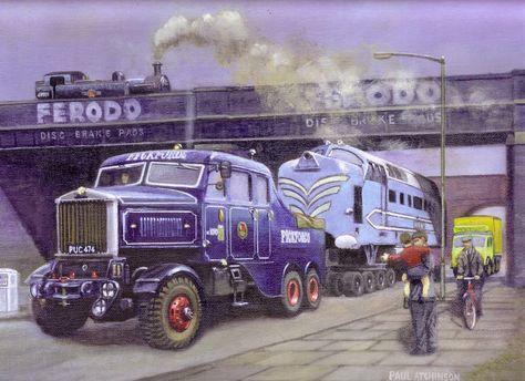 Scammell Constructor, trasladando una locomotora Deltic diesel al Museo de la Ciencia en 1963