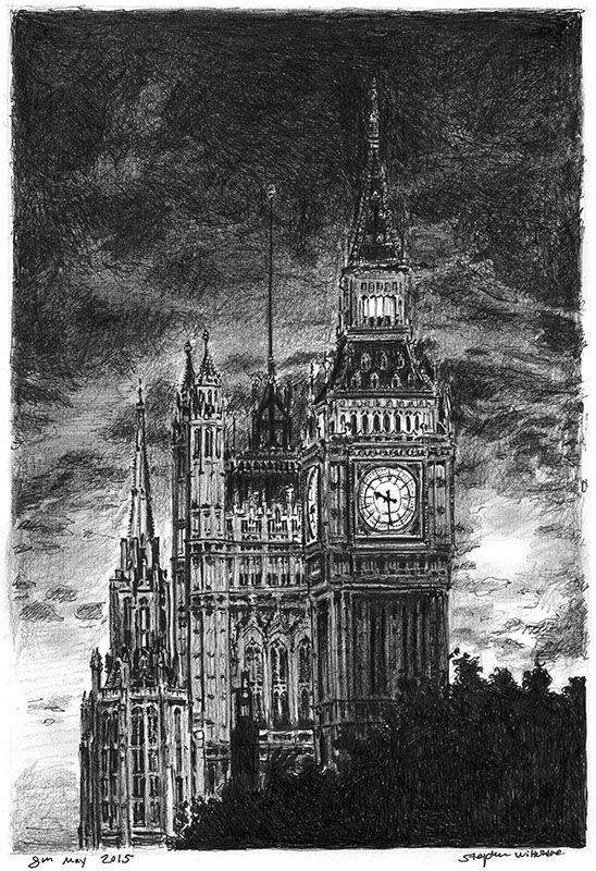 Big Ben at night - drawings and paintings by Stephen Wiltshire MBE