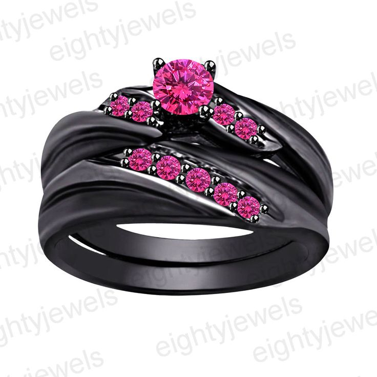 Full Black .925 Sterling Silver Round Cut Pink Sapphire Wedding Bridal Ring #eightyjewels #EngagementWeddingAnniversaryBirthday