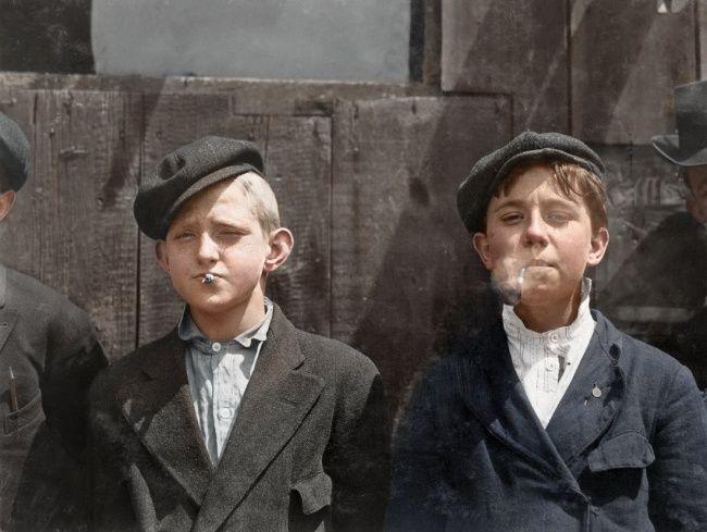 Newsagents in smoking break