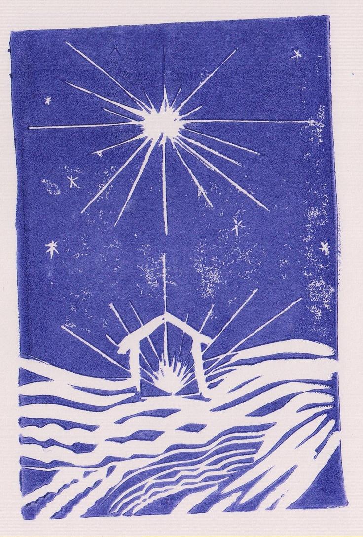 Christmas Star Nativity, beautiful original lino print. AzulBlueDragon on Etsy.