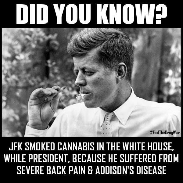End the Drug War Did you know?  JFK smoked Presidential pot: http://tinyurl.com/mjohxnt