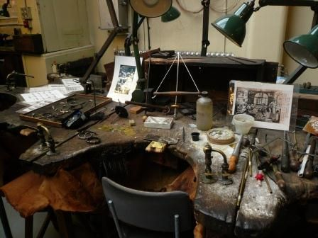 jewellers workbench/ Birmingham Jewellery Museum - just like my brother worked at when he left school at 15.