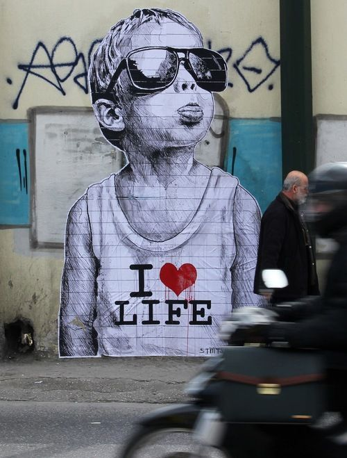 """I Love Life"" mural in Athens, Greece"