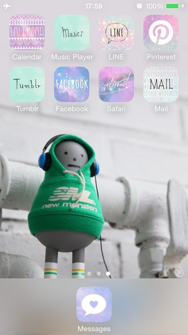 Listening to Music Start your day with good music and beautifully decorated home screen! ★ In this screen ★ Deco Pack:Spring Memories +Shinyspace+ Laura's Garden Wallpaper:Listening