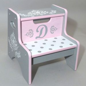 Personalized and Hand Painted Damask Step Stool by Neat Stuff Gifts.