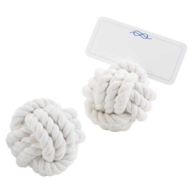 12ct Kate Aspen Nautical Cotton Rope Place Card Holder, White
