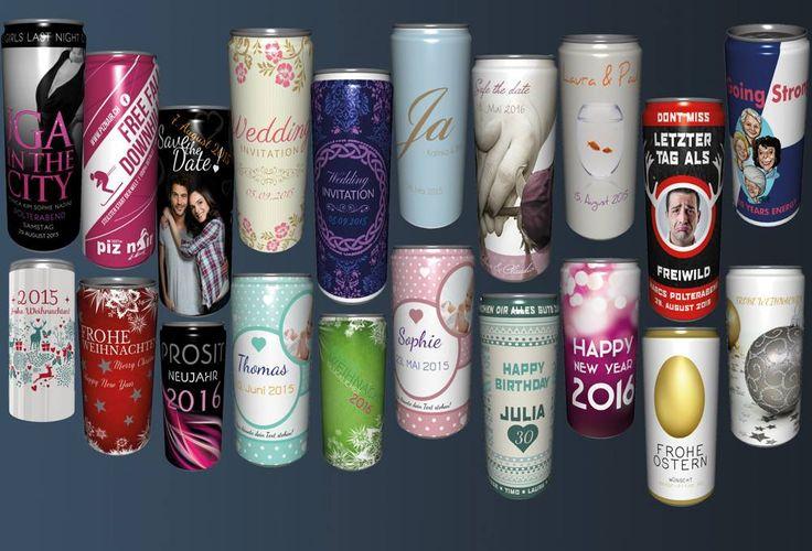 Hingucker an Eurem Event! Getränkedosen  mit Eurer eigenen Etikette bedruckt! Für Büro- oder Privatevents.