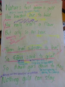 """I asked my seventh grade students to analyze the poem """"Nothing Gold Can Stay"""" by Robert Frost, which appears in chapter five of the novel, The Outsiders. My goal was for students to connect the poem's theme to the novel's recent events, which touches on CCSS.ELA-Literacy.RL.7.2: Determine a theme or central idea of a text and analyze its development over the course of the text.  Ultimately, students showed their level of mastery on a creative writing homework assignment (samples below)."""