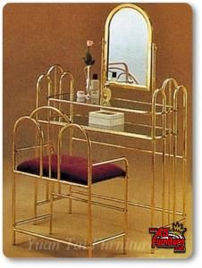 Brass Gold Metal Vanity W Matching Stool 2pc Set Vanity Pinterest Metals Vanity Stool And Ps
