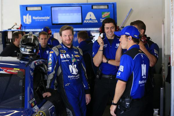 Dale Earnhardt Jr. Photos - Dale Earnhardt Jr., driver of the #88 Nationwide Chevrolet, talks to his crew in the garage area during practice for the NASCAR Sprint Cup Series Coke Zero 400 at Daytona International Speedway on July 1, 2016 in Daytona Beach, Florida. - Daytona International Speedway - Day 2
