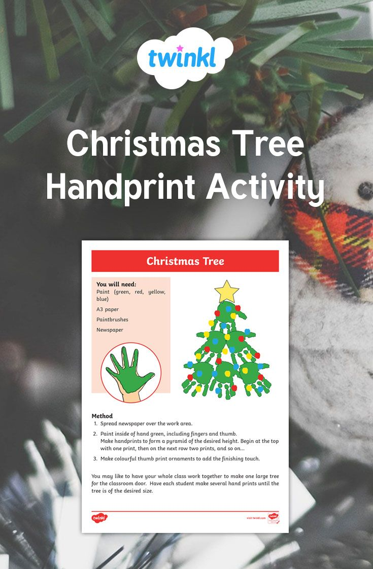 A Great Christmas Activity For Students Looking At How They Can Make A Christmas Tree Out Of Their Own Handprin Hand Print Tree Christmas Activities Activities