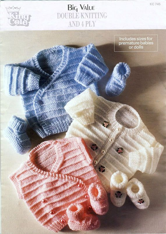 Baby Cardigans Waistcoat & Bootees PDF Knitting Pattern. Patternalia Vintage on Etsy.