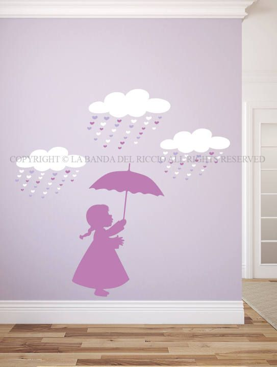 Wall Decals Kids Wall Stickers Baby Nursery Room Decor Little Girl With  Umbrella Part 75