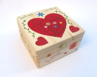 Items similar to Large Mother's Day Keepsake Box, Wooden Memory Box. Hand Painted Wooden Memory Box with Flower Design on Etsy