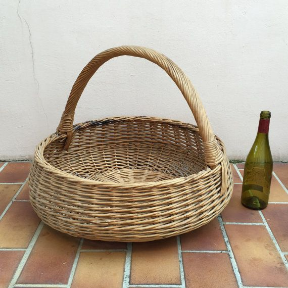 Basket Wicker Rattan HUGE SIZE Laundry Basket Shape Farm House vintage french