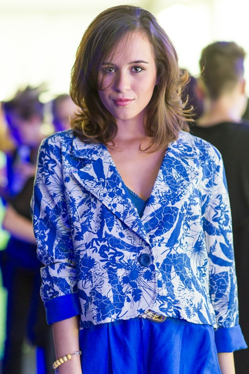 Starfish - Tarikura Kapea of model agency Ataahua Avenue wears Starfish SS13/14 blue jacket