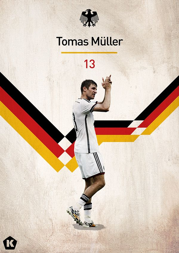 World Cup 2014 Posters | KICKTV by Luke Barclay, via Behance - Thomas Müller  repined by www.chirimoya-tours.com