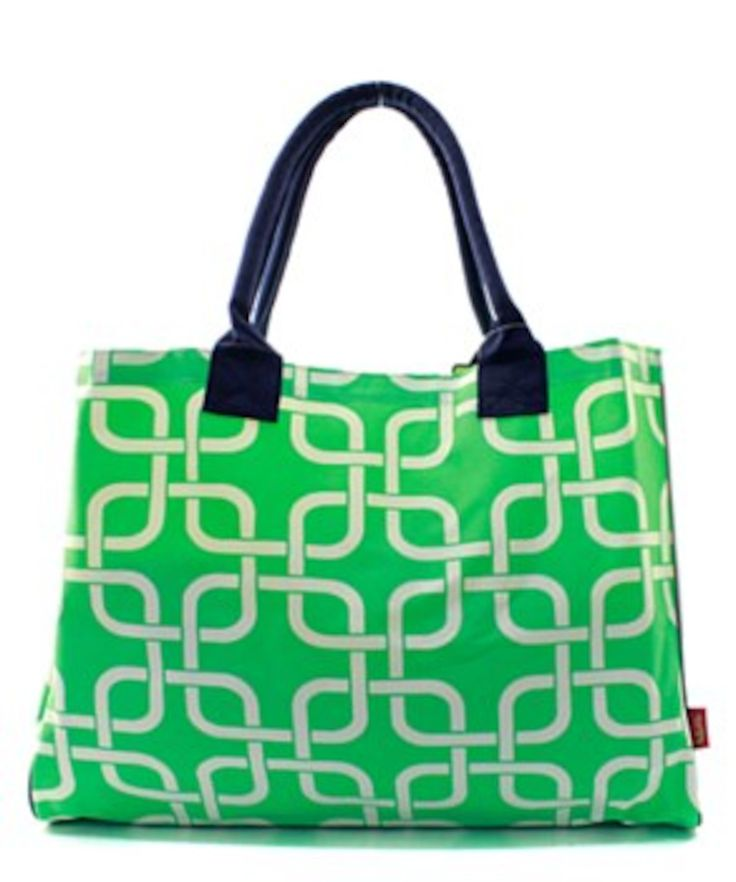 Nautical Link Mint Cute Patterned Oversized Large Beach Bag Tote