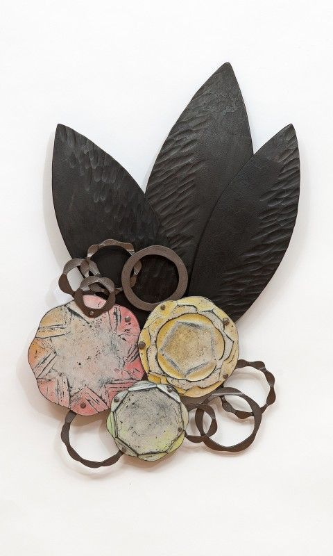 Susan Madacsi, brooch, steel, enamel paint, wax