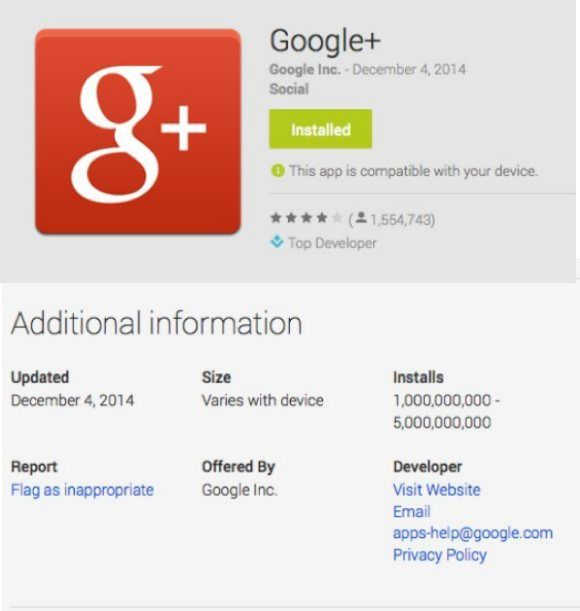 Google Plus Android reaches Facebook's 1-5 billion install mark