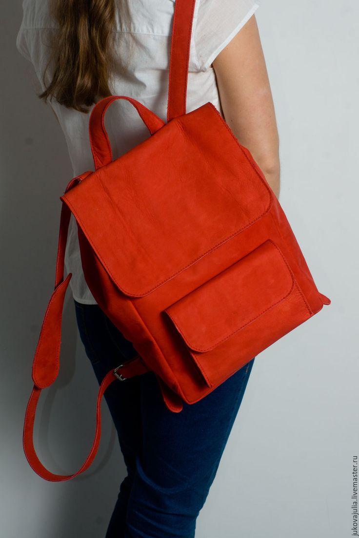 Купить Рюкзак кожаный из натуральной кожи красный, ярко алый, ягодный 24.18