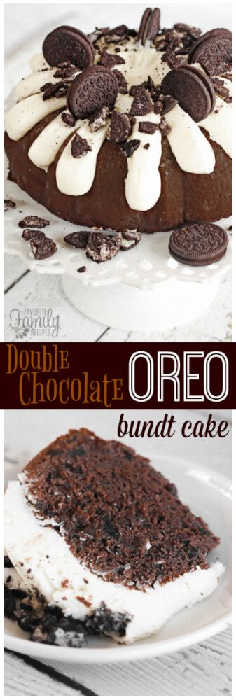 This Double Chocolate Oreo Bundt Cake is what dreams are made of. The bits of crushed Oreo in and on top of this cake are just heavenly. Add homemade cream cheese frosting to the mix and you have perfection. via @favfamilyrecipz