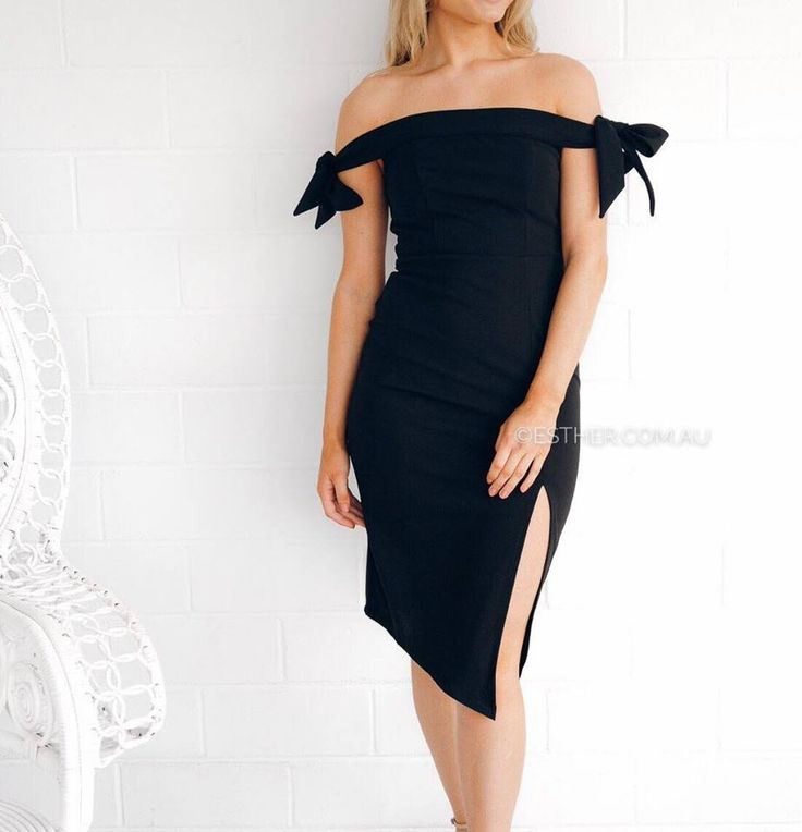 Esther Boutique Black Off Shoulder Midi