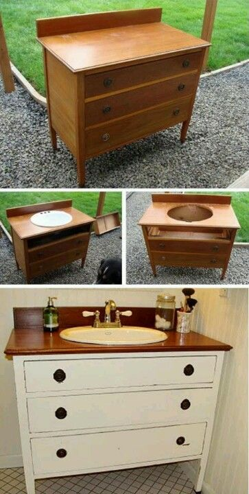 "Dresser sink. [ I did this at the old house with a neat dresser. The top had been damaged right in the middle so I got a sink (& it has a template in it to cut the hole), cut the hole, called a plumber & the next day I had super neat sink. You might lose all of the top drawer but on mine I was able to get a drawer of about 4"", perfect for floss toothpaste, & little items ]"