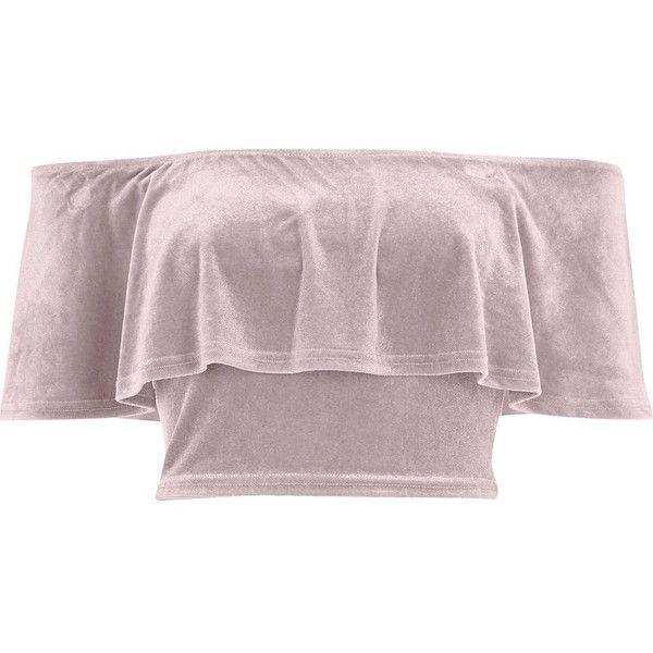 River Island Pink velvet deep frill bardot crop top ($27) ❤ liked on Polyvore featuring tops, pink, brown tops, pink top, ruffle crop top, short sleeve crop top and velvet top