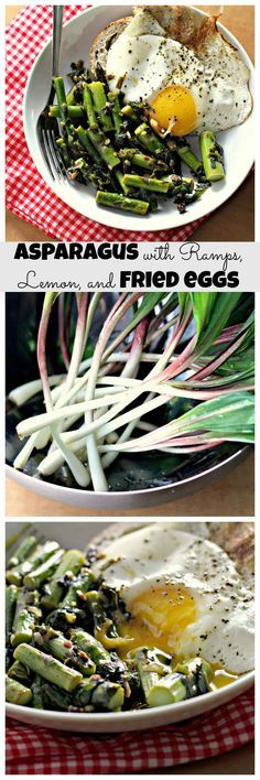 Pan-Fried Asparagus with Ramps, Lemon, and Fried Eggs