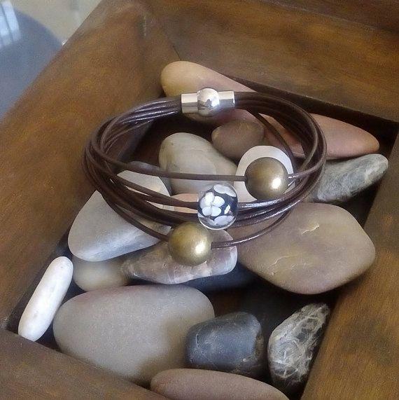 Handmade bracelet brown leather thread bracelet metal and