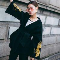 Моды личности вышивка Кимоно стиль пальто flare рукавом кружева пальто куртки женщин осень уличная дамы одежда и пиджаки