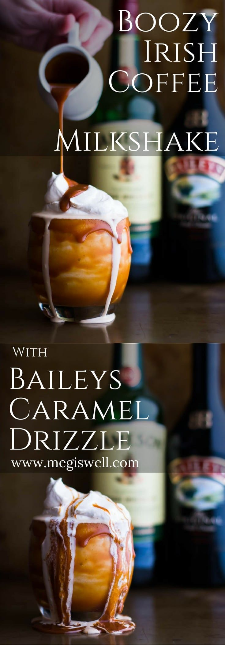 This Boozy Irish Coffee Milkshake with Baileys Caramel Drizzle is based off an Irish Coffee. Vanilla ice cream, espresso, and Jameson whiskey creates that Irish Coffee taste while Baileys caramel sauce and whipped cream enhance the flavor and increase the