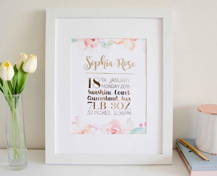 Baby Custom Name & Birth Announcement - Floral Border Baby Girl Option 2 - Blossom and Pear - 1