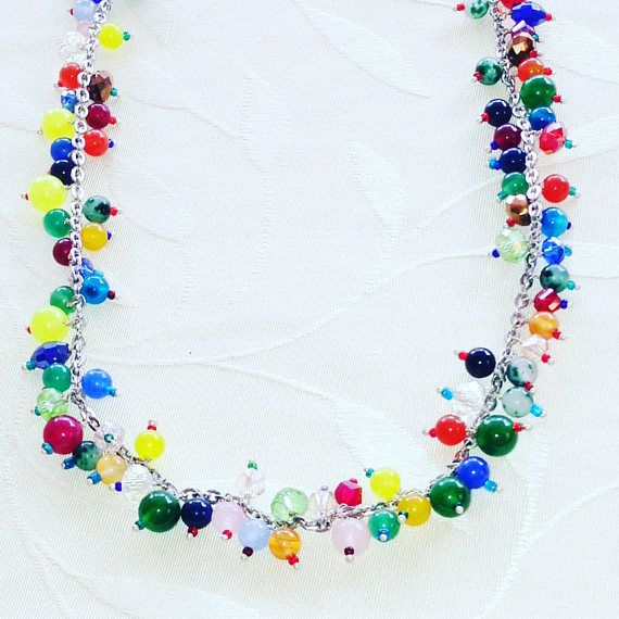 Rainbow Necklace Agate Beads And Sterling Silver Adjustable