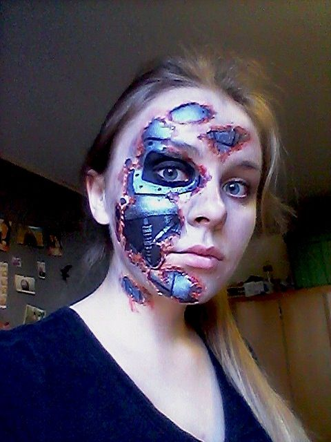 Not the best quality picture but I finished my Terminator Halloween makeup!