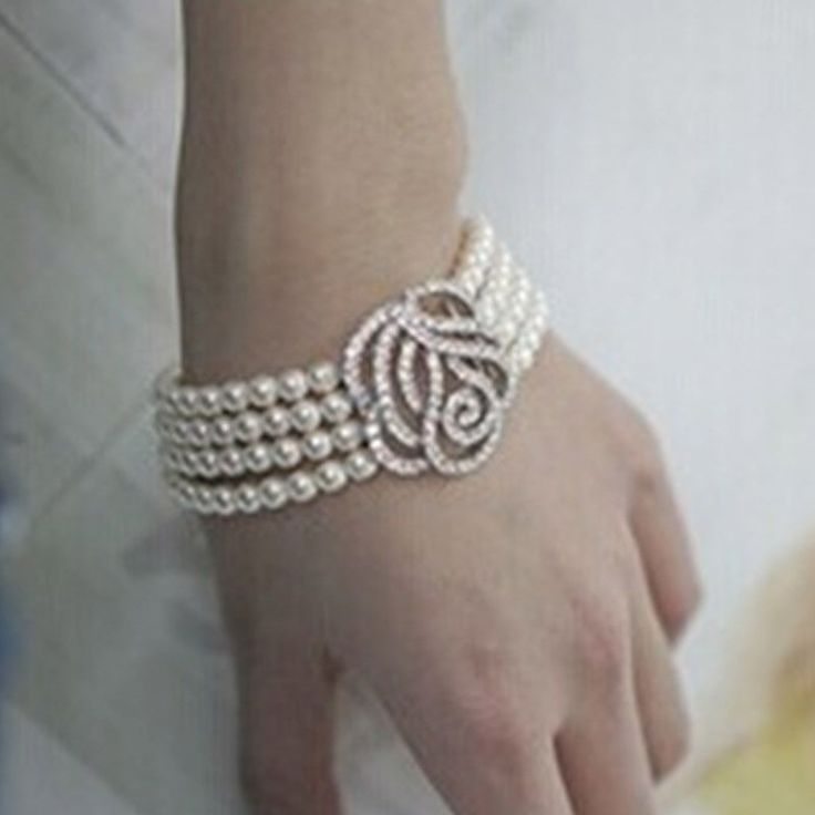 Women Sparkling Crystal Rhinestone Pearl Bangle Bracelet Wedding Bridal Jewelry  #Unbranded