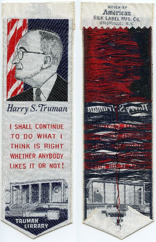 President Harry S Truman - woven by American Silk Label Mfg. Co
