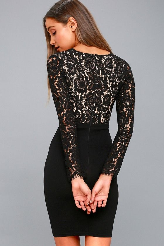 913f3ed5c2f4 Swoon-er or Later Black Long Sleeve Lace Dress in 2019