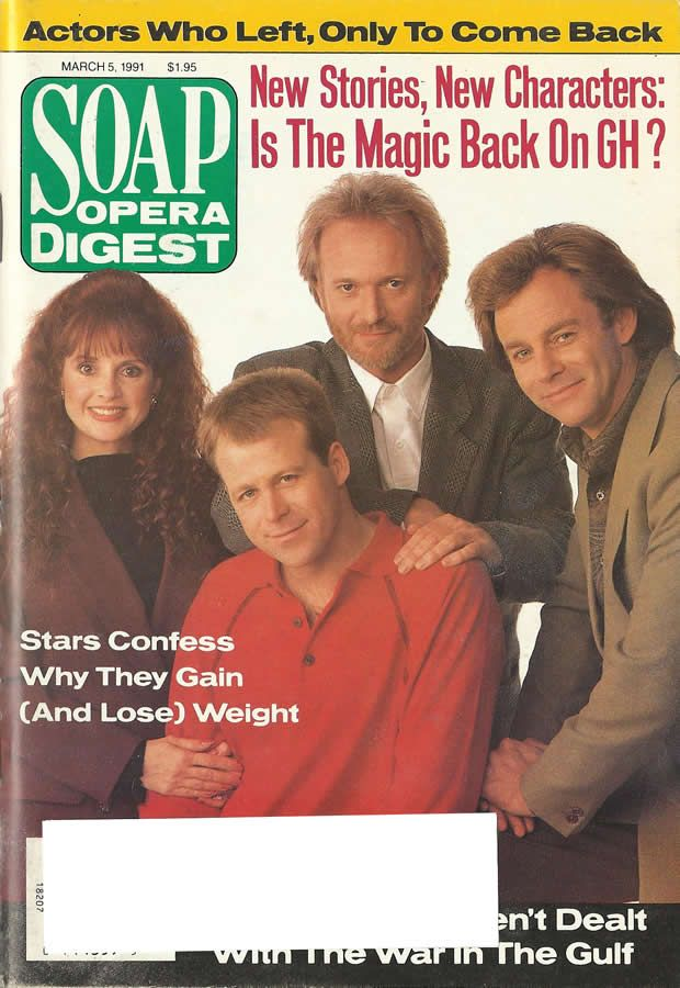 Jacklyn Zeman, Kin Shriner, Tony Geary, & Tristan Rogers #GH 3/5/91 http://classicsodcovers.tumblr.com/