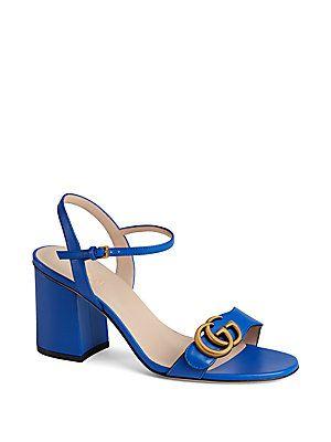 5e5d8f6e58e5 Gucci Marmont GG Ankle-Strap Leather Sandals