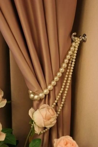Glamorous curtains using thrift store pearls :-)