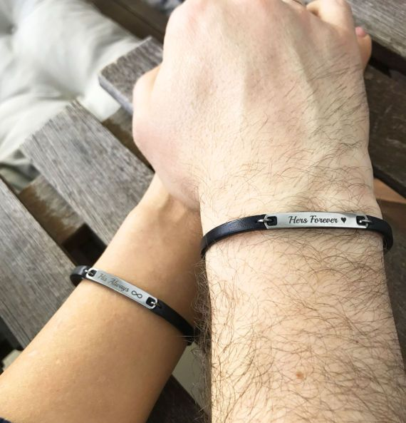 Always and Forever Matching Couple Bracelets Leather Bracelet His Her Personalized Matching Jewelry Boyfriend Girlfriend Anniversary Gift