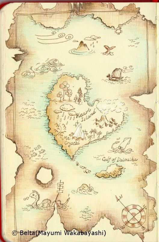 2014_07_01_map_03_s I found an old treasure map!  let's go adventurous journey.     for this drawing I used  Faber Castell polychromos  Moleskine siketchbook     © Belta(Mayumi Wakabayashi)