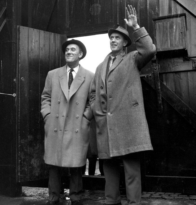 1965. Newly appointed Fulham manager Vic Buckingham with chairman Tommy Trinder.