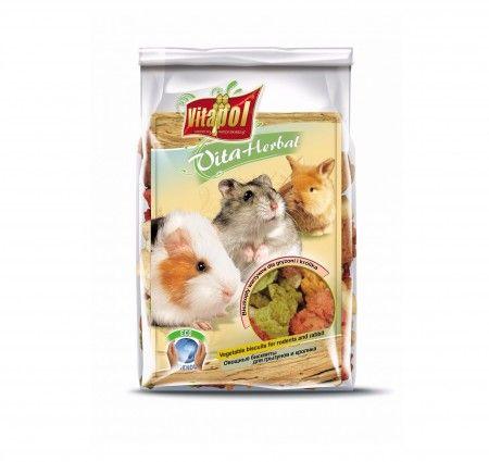 Vitapol VitaHerbal biszkopty warzywne dla gryzoni i królika. Mieszanka paszowa uzupełniająca dla gryzoni i królika w postaci warzywnych biszkoptów, bogata w witaminy, minerały i pektyny, naturalnie wspierająca proces ścierania siekaczy. Smakowita przekąska stanowiąca wsparcie codziennej diety.