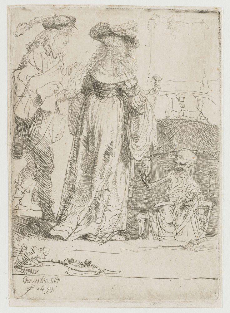 Rembrandt Harmensz. van Rijn | De dood en de jonggehuwden, Rembrandt Harmensz. van Rijn, 1639 |