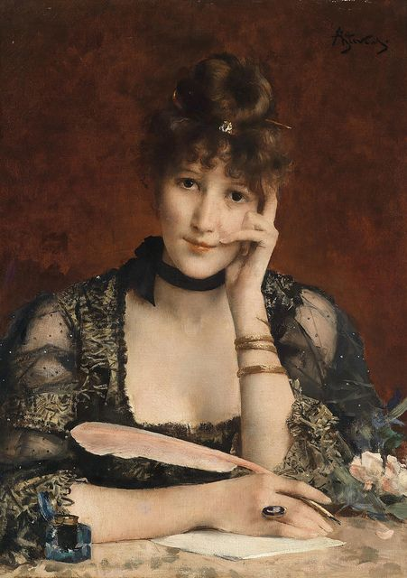 Alfred Stevens - The Letter http://oldpainting.tumblr.com/post/10402648314/alfred-stevens-the-letter-by-gandalfs-gallery